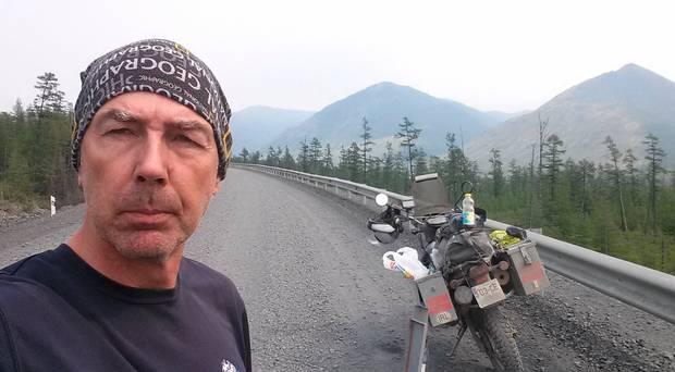 driving bike over frozen lake