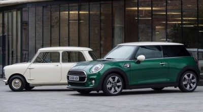 The Mini of 60 years ago and this year's model in racing green