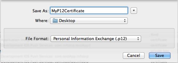 Exporting certificate file as p12 file format