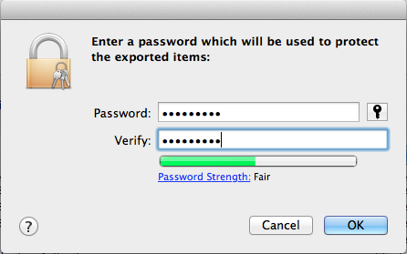 Entering the password for protecting exported files (can be empty)