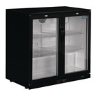 Polar GL002 Double Hinge Door Back Bar Cooler in Black with LED Lighting