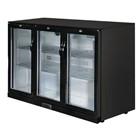Polar GL004 Triple Hinged Door Back Bar Cooler in Black with LED Lighting