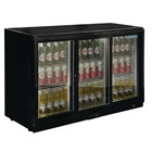Polar GL006 Triple Sliding Door Back Bar Cooler in Black with LED Lighting