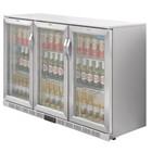 Polar GL009 Stainless Steel Triple Hinged Door Back Bar Cooler with LED Lighting