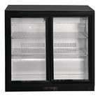 Polar GL010 Double Sliding Door Back Bar Cooler in Black with LED Lighting