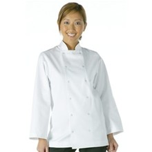 Unisex Vegas Chefs Jacket - Long Sleeve White Polycotton. Size: XS (To fit chest