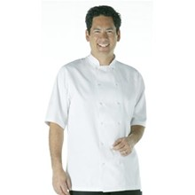 Vegas Chefs Jacket - Short Sleeve White Polycotton. Size: S (To fit chest 36 - 3