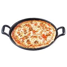 Tablecraft CW30118 Cast Iron Pizza Pan 34cm diax5cm (45cm length with handles) | Cast Iron Pizza Pan
