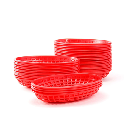 36xRed Classic Oval Food Serving Plastic Basket Fast Food Side Order MADE IN USA