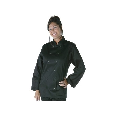 Unisex Vegas Chefs Jacket - Long Sleeve Black Polycotton. Size: S (To fit chest