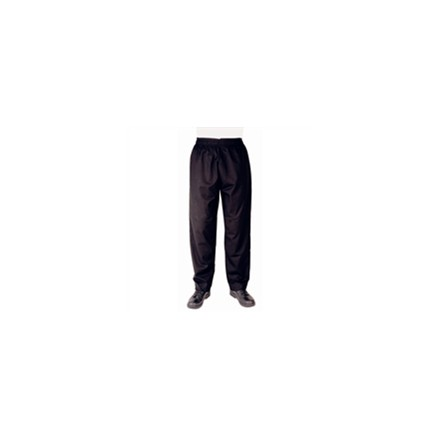 Whites Chef Clothing A582-M Vegas Chefs Trousers Black Polycotton - Size M Chef