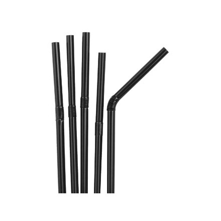 Kristallon Black Bendy Straws Pack 250