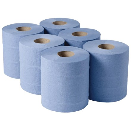 Jantex DL921  Centrefeed Blue Rolls 2ply 120m 6 Pack