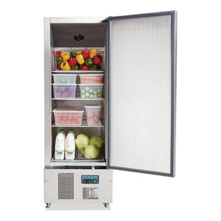 Polar G590 Single Door Slimline Fridge Stainless Steel 440Ltr