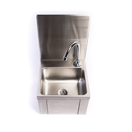 ACME Stainless Steel Knee Operated Hand Wash Basin with Splashback
