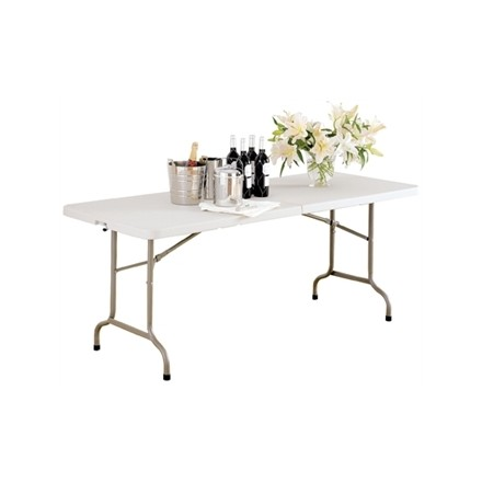 Bolera Centre Folding Utility Table White 6 Ft