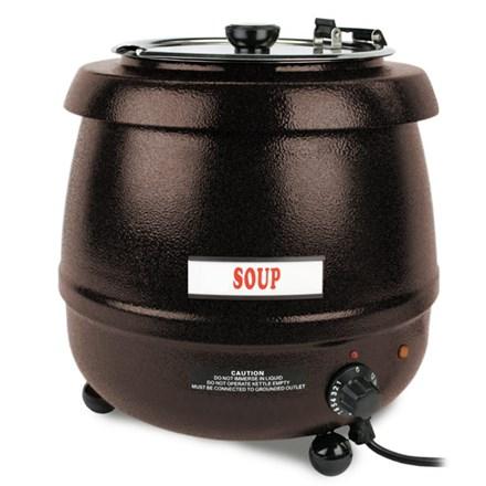 Thunder Stainless Steel Black Soup Kettle - 10.5 Litre