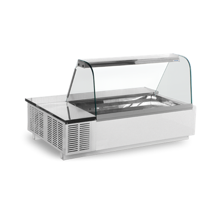 Igloo Tatiana Gastronorm Display Counter Stainless Steel Decking White powder pa