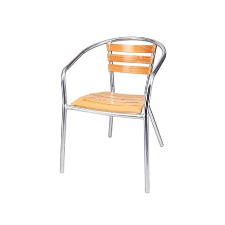 4x Bolera U421 Stacking Ash & Aluminium Chairs