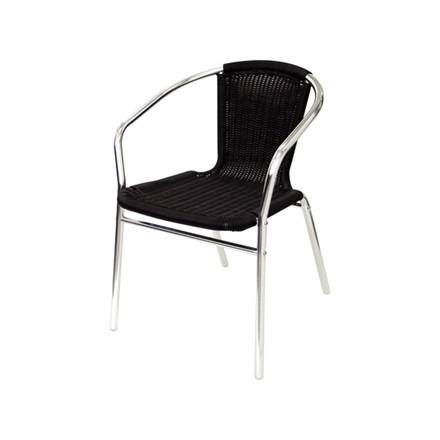 4x Bolera U507 Black Stacking Wicker Chairs