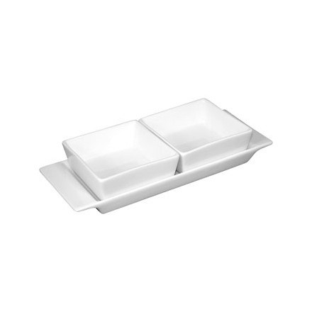 2x  Olympia U815 2 Section Snack Dish with Plate Crockery