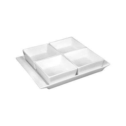 2 x Olympia U817 Whiteware Snack Dishes with Plates 4 Section