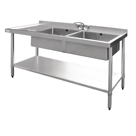 Vogue U906 Stainless Steel Sink Double Bowl Left Hand Drainer 1500mm