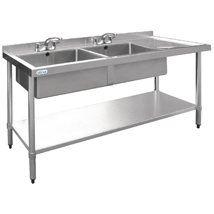 Vogue U908 Stainless Steel Sink Double Bowl Right Hand Drainer 1800mm