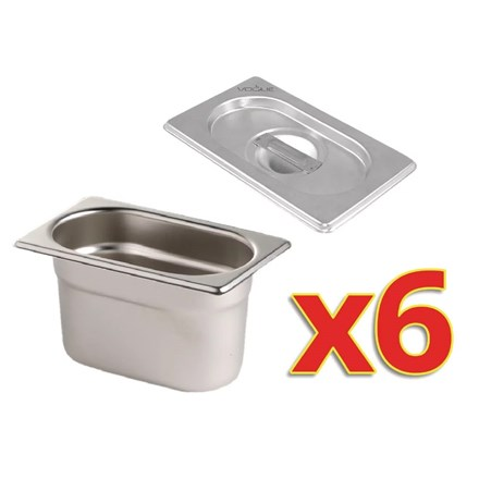 Vogue S430 Gastronorm Pan Set with Lids 6 x 1/9