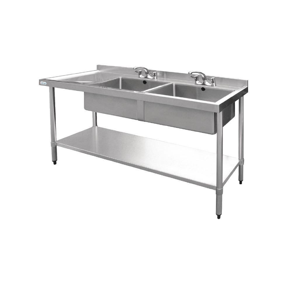 da7b02f156 Vogue U909 Stainless Steel Sink Double Bowl Left Hand Drainer 1800mm ...