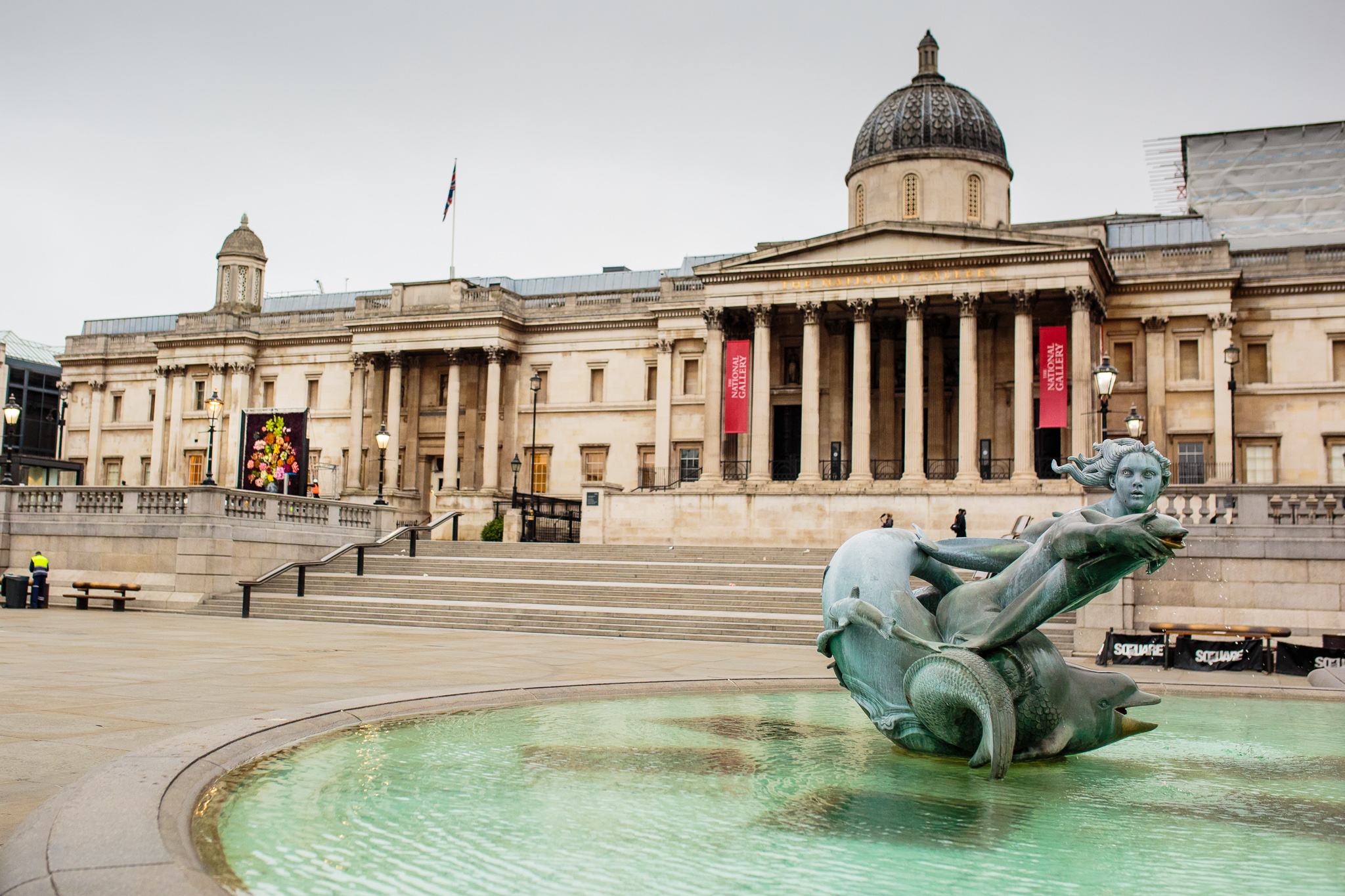 Wide shot of Trafalgar Square and installation by The Flower Council of Holland