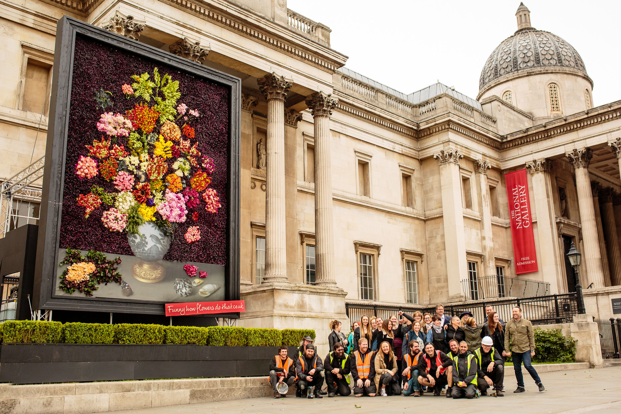The team involved in creating the floral masterpiece