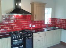 Red brick tiles finishes  the look traditional oak with granite