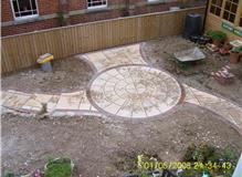 Circle patio and steps