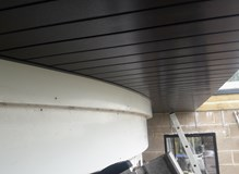 Shaping soffit around curved bay window