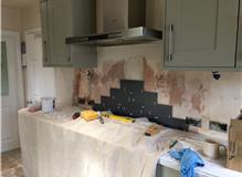 Walls tiled in kitchen