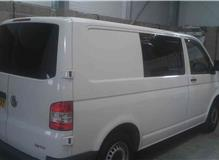 Side window fitted to vw transporter van.