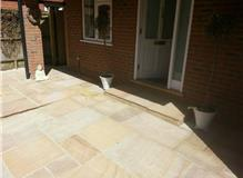 Sandstone front paving and step