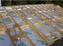 Insulation laid in flat roof.