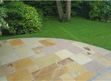 patio in fossill mint with granite edging