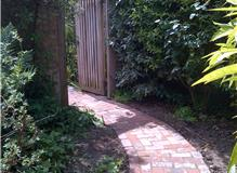 New brick pathway on concrete base