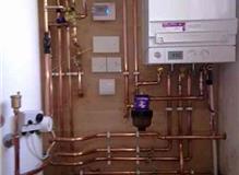Unvented hot water cylinder  viessmann system boiler. helston