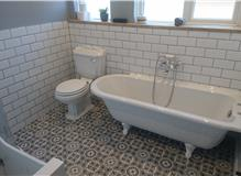 Free standing bath in new bathroom