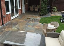 Patio area in Chinese rusty slate.