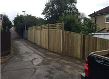 Closed board panel fencing with trellis