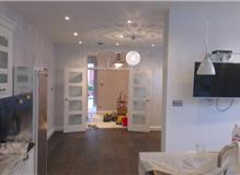 Living room + kitchen painted in Farrow and Ball