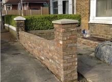 Garden wall using reclaimed multi stock London bricks ( imperial size)