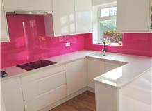 Pink glass kitchen Splashbacks