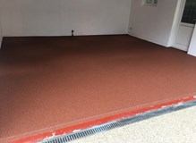 Red resin in a garage