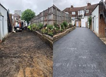 Before and after new tarmac roadway